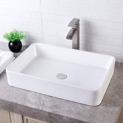 "24""x16"" Rectangle Ceramic Bathroom Vessel Sink"