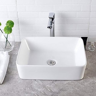 Rectangle White Ceramic Vessel Bathroom Sink