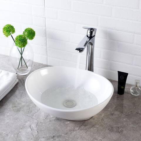 Above Counter White Porcelain Ceramic Bathroom Vessel Sink