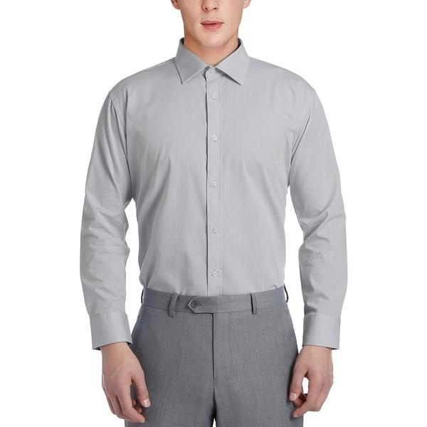 Mens Slim Fit Solid No Iron Spread Collar Dress Shirt
