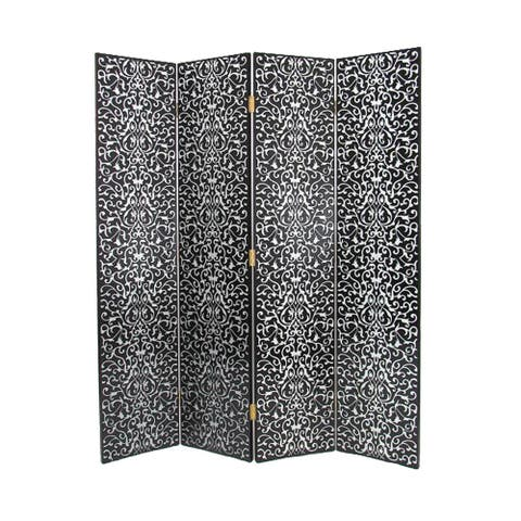 Wooden 4 Panel Room Divider with Scrolling Motifs, Black and Silver