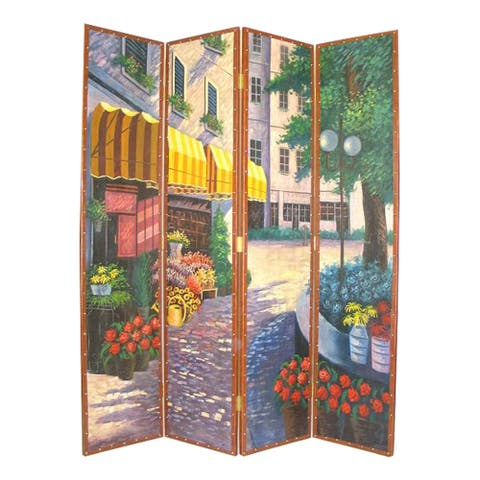 Leatherette Wooden 4 Panel Room Divider with Flower Market Theme,Multicolor