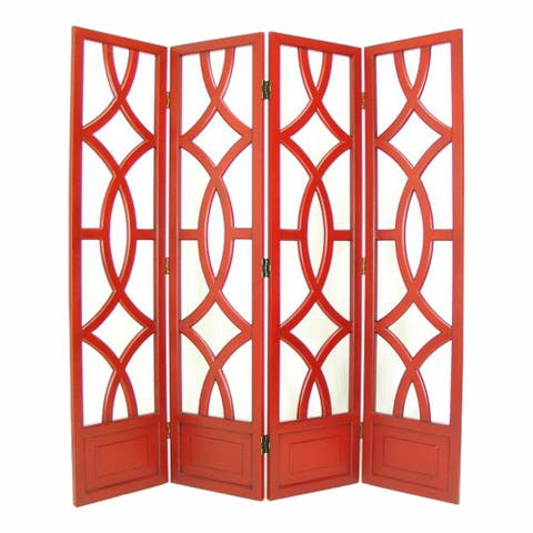 Wooden 4 Panel Room Divider with Open Geometric Design, Red