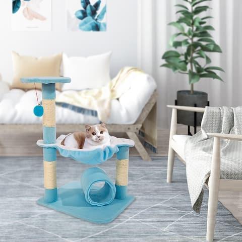 """M51 28"""" Stable Cute Sisal Cat Climb Holder Cat Tower Lamb Blue"""