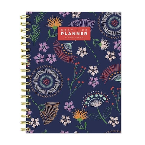 July 2020-June 2021 7x9 Best Life Daily Weekly Monthly Luxe Floral Stitches Hardcover Planner