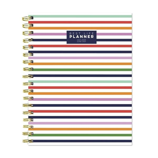 July 2020-June 2021 7x9 Best Life Daily Weekly Monthly Luxe Preppy Stripe Hardcover Planner. Opens flyout.