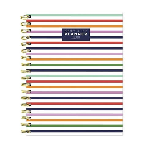 July 2020-June 2021 7x9 Best Life Daily Weekly Monthly Luxe Preppy Stripe Hardcover Planner