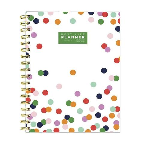 July 2020-June 2021 7.5x9 Best Life Daily Luxe Polka Preppy Dot Hardcover Planner