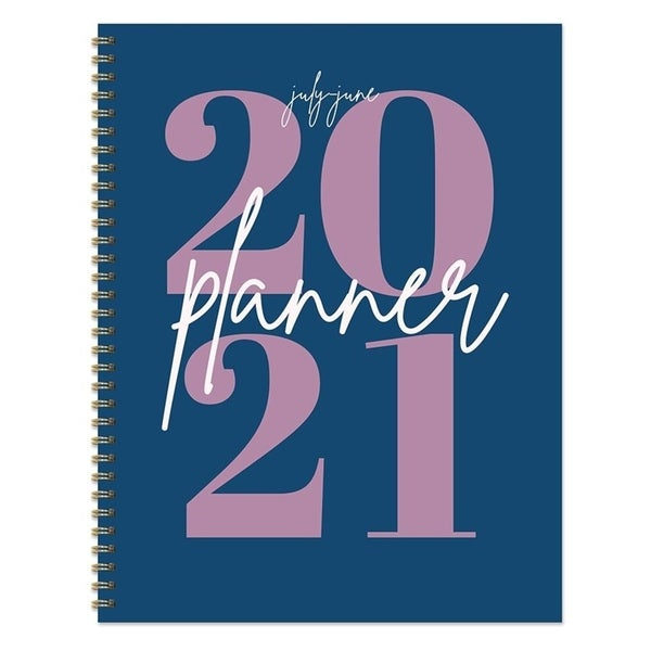 July 2020-June 2021 8.5x11 Large Daily Weekly Monthly Big Blue Year Spiral Planner with Stickers. Opens flyout.