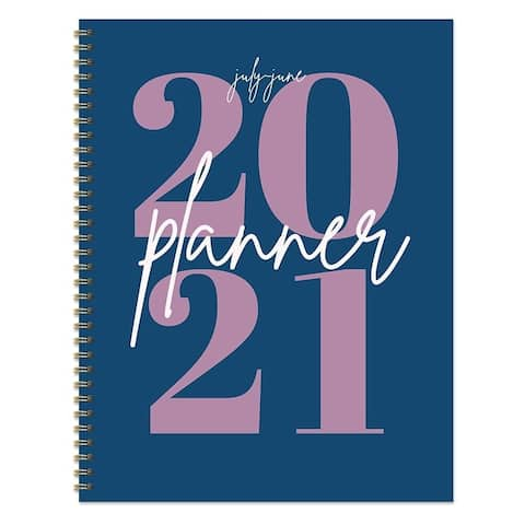 July 2020-June 2021 8.5x11 Large Daily Weekly Monthly Big Blue Year Spiral Planner with Stickers