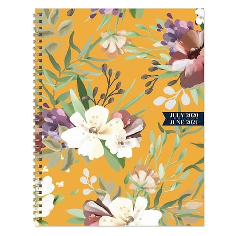 July 2020-June 2021 8.5x11 Large Daily Weekly Monthly Golden Flowers Spiral Planner with Stickers