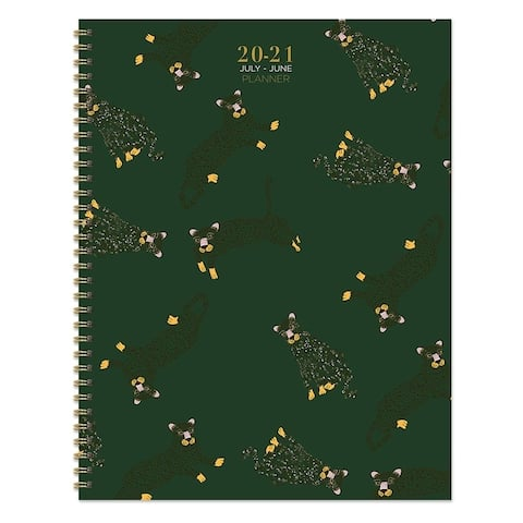 July 2020-June 2021 8.5x11 Large Daily Weekly Monthly Lots of Leopards Spiral Planner with Stickers