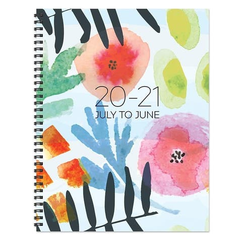 July 2020-June 2021 8.5x11 Large Daily Weekly Monthly Modern Blossoms Spiral Planner with Stickers
