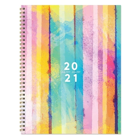 July 2020-June 2021 8.5x11 Large Daily Weekly Monthly Painted Stipe Spiral Planner with Stickers