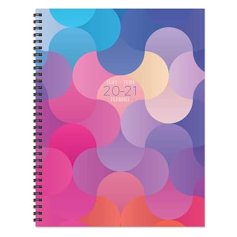 July 2020-June 2021 8.5x11 Large Daily Weekly Monthly Prismatic Spiral Planner with Stickers