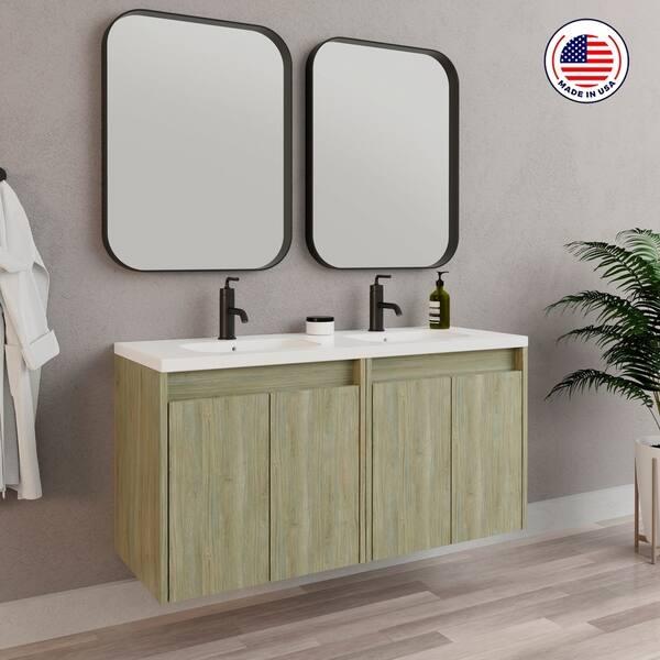 48 Inch Modern Bathroom Vanity Cabinet Urban Toasted Oak Wood 48 X 24 X 18 Inch Vanity Cabinet Ceramic Top Sink Overstock 31127846