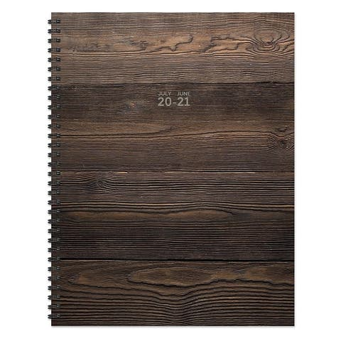July 2020-June 2021 8.5x11 Large Daily Weekly Monthly Wood You Plan Spiral Planner with Stickers