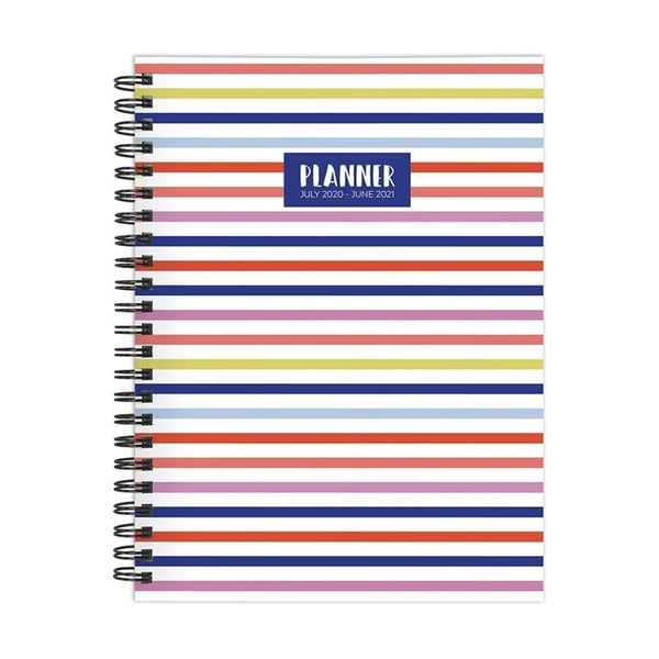 July 2020-June 2021 6x8 Medium Daily Weekly Monthly Classic Color Stripes Spiral Planner with Stickers. Opens flyout.