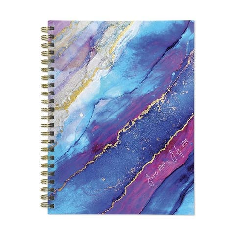 July 2020-June 2021 6x8 Medium Daily Weekly Monthly Geode You're Pretty Spiral Planner with Stickers