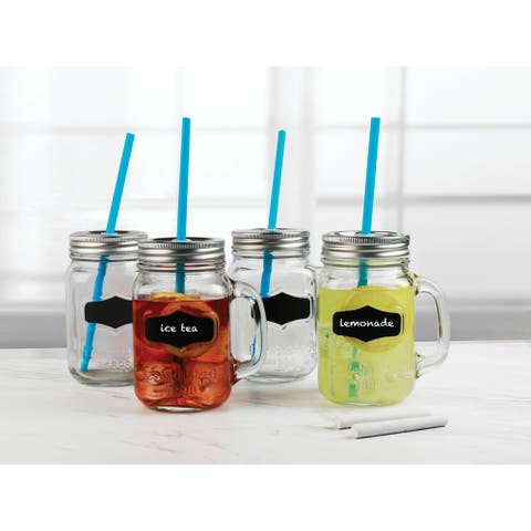 Yorkshire Set of 4 - Mason Jar Mugs with Chalkboard - 17.5 oz