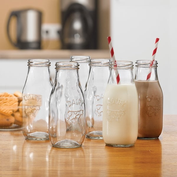 Country Clear Milk Bottle Set of 6 - 17.5 oz. Opens flyout.