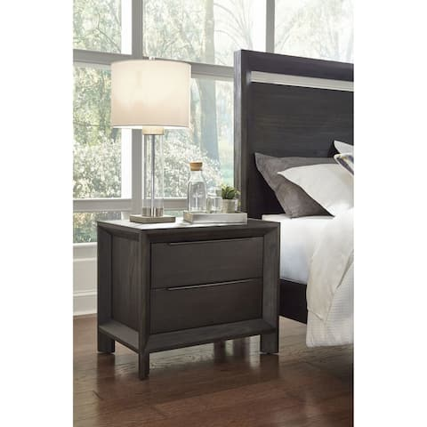 Chloe Solid Wood Two-Drawer Nightstand in Basalt Grey