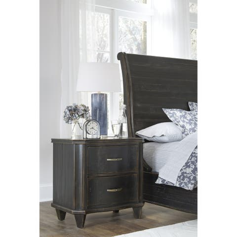 Philip Solid Wood Two Drawer Nightstand in Dark Espresso