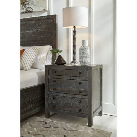 Townsend Solid Wood Three Drawer Nighstand in Gunmetal