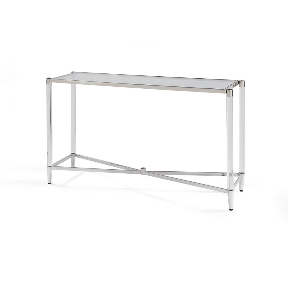 Marilyn Glass Top and Steel Base Rectangular Console Table
