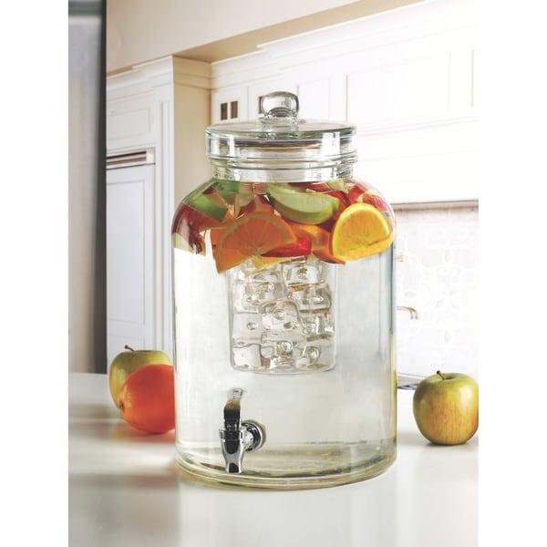 Brington Beverage Dispenser with Ice Insert and Fruit Infuser. Opens flyout.
