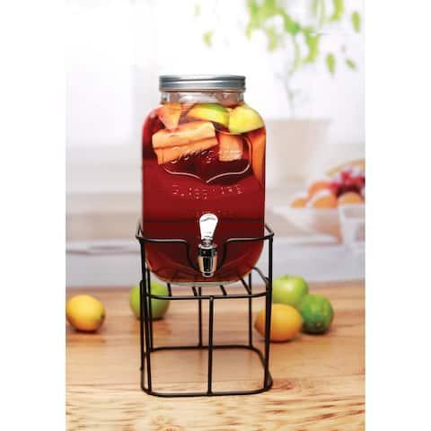 Mini Yorkshire Sun Tea Jar Dispenser on Black Metal Stand