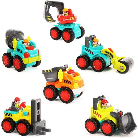 IQ Toys Push & Play 6 Pack Friction Powered Action Vehicles