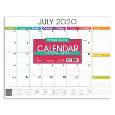 July 2020-June 2021 22x17 Rainbow Blocks Large Monthly Desk Pad Blotter