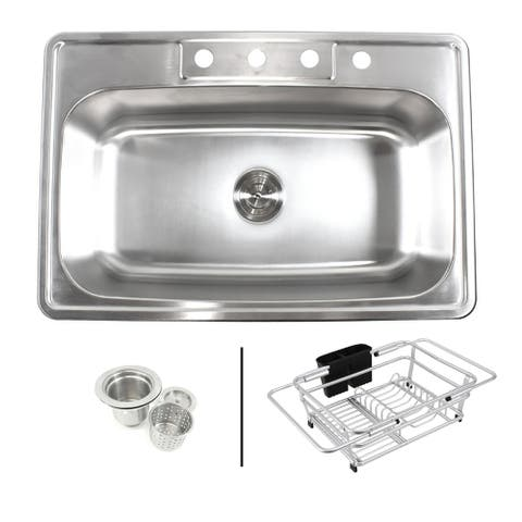 Topmount Drop-In 18-Gauge Stainless Steel 33 in. x 22 in. x 9 in. 4 Faucet Hole Single Bowl Kitchen Sink Expandable Dish Rack