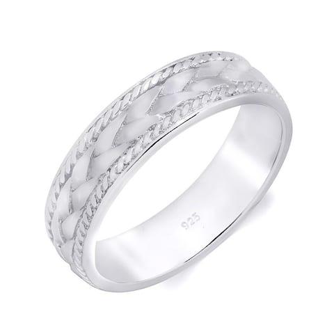 Men's Vintage Ring Wedding Band Brushed Smooth Edges 6mm Solid Silver