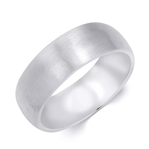 Mens Anniversary Wedding Band Ring Brushed Solid Silver 7mm Size 8-12