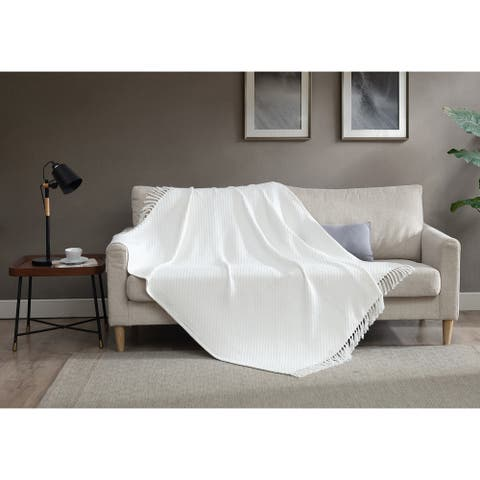 Asher Home 100% Cotton White Knit Throw Blanket