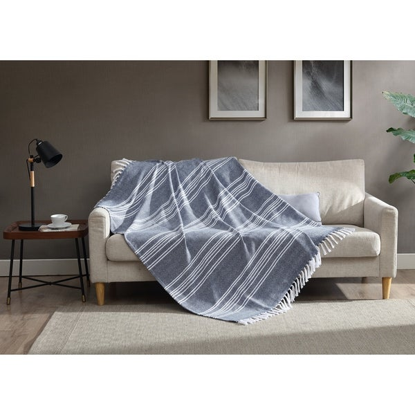 Asher Home Cotton Blend Blue and White Striped Throw Blanket. Opens flyout.