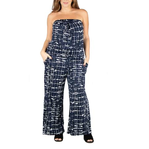 Navy Print Strapless Plus Size Jumpsuit with Pockets