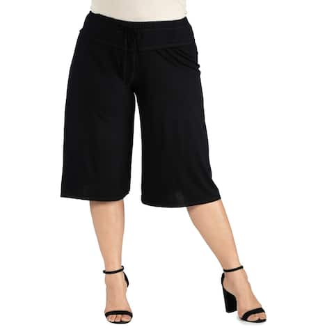 Drawstring Plus Size Gaucho Pants