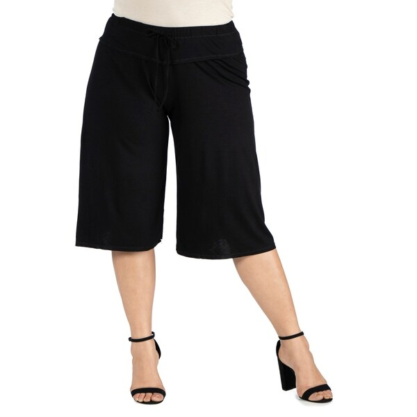 Drawstring Plus Size Gaucho Pants. Opens flyout.