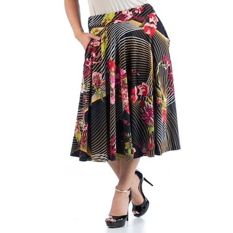 Plus Size Floral Midi Skirt with Pockets