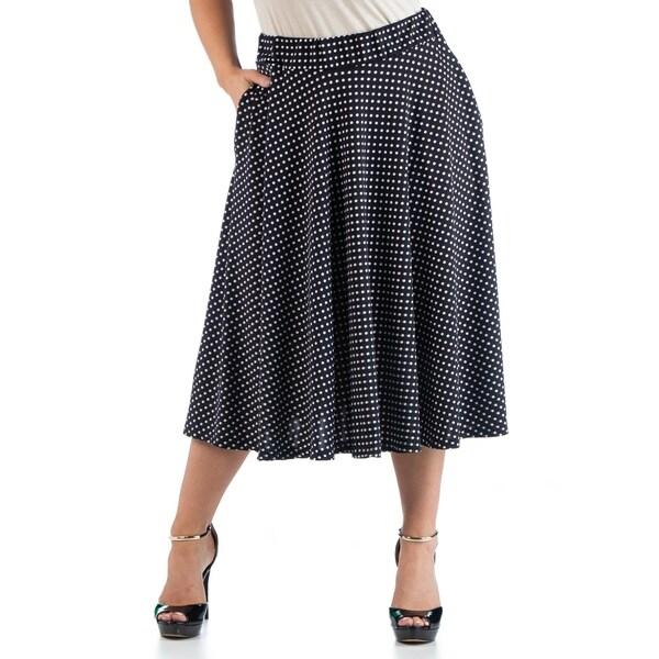 Polka Dot Plus Size Midi Skirt with Pockets