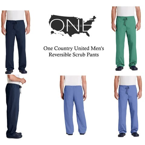 One Country United Men's Reversible Drawstring Scrub Pants