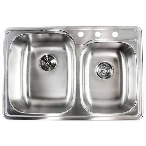 Topmount Drop-In 18-Gauge Stainless Steel 33-1/8 in. x 22 in. x 9 in. 3 Faucet Hole 60/40 Double Bowl Kitchen Sink Dish Rack