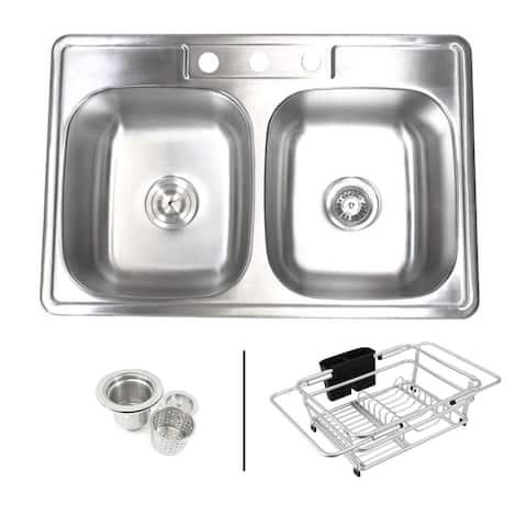 Topmount Drop-In 18-Gauge Stainless Steel 33-1/8 in. x 22 in. x 9 in. 3 Faucet Hole 50/50 Double Bowl Kitchen Sink Dish Rack