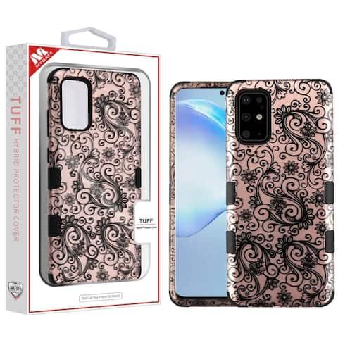 Insten Tuff Four-leaf Clover Hard Hybrid Plastic TPU Cover Case For Samsung Galaxy S20 Plus - Rose Gold/Black