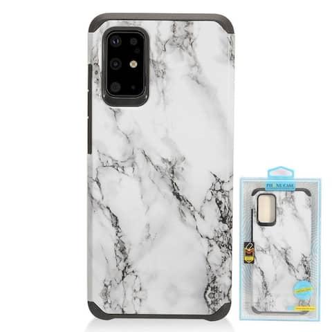 Insten Marble Hard Hybrid Plastic TPU Cover Case For Samsung Galaxy S20 Plus - White/Black