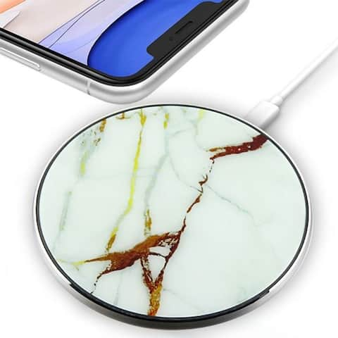 Insten Ultra-Slim Wireless Charger Fast Charging Pad, White Marble