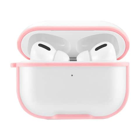 Insten Stylish Eggshell Pc Clear Case With Carabiner Compatible With Apple AirPods Pro, Pink